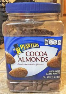 Picture of the other front label on a 37-ounce jar of Planters Cocoa Almonds.